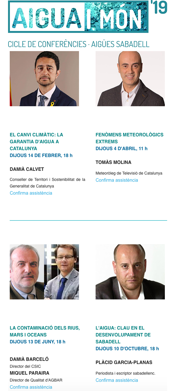 Conference cycle: Aigua i món | El canvi climàtic: la garantia d'aigua a catalunya @ Aula de l'Aigua (Carrer de la Concepció, 14, Sabadell)